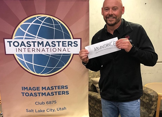 Shawn Feurer after presenting at Toastmasters International on Abundance